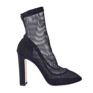 DOLCE & GABBANA Stiefel Pumps aus Netz Spitze mit Absatz Schwarz Boots 06278