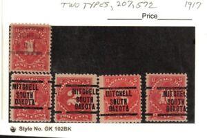 JimbosStamps, U.S.precancels,1917 postage due stamps, MITCHELL SOUTH DAKOTA
