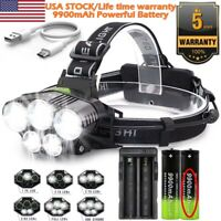 250000LM 5XT6 LED Headlamp Rechargeable Head Light Flashlight Torch Lamp Camping