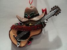"KSA ""WESTERN GUITAR WITH COWBOY HAT AND  CHRISTMAS LIGHTS ORNAMENT"" ~  NEW!!!"