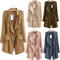 Ladies Slim Drawstring Waist Windbreaker Jacket Parka Long Trench Coat Outwear Y