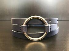 NAVY BLUE O-Ring Ladies Skinny Thin Dress Tunic Jumper Leather Belt - Size M