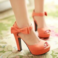 Fashion Womens Ankle Bowknot Strap High Heels Platform Sandals Open Toe Shoes SZ