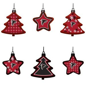 Atlanta Falcons Shatterproof TREES & STARS Christmas Tree Ornaments Set 6 pack
