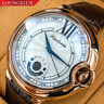 Mens Automatic Mechanical Watch - Rose Gold White Dial Brown Leather DIASTERIA