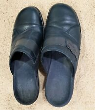 Clark's Navy Blue Leather slip on clogs SZ 6.5 M