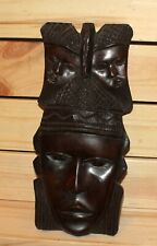 Vintage African hand carving wood tribal wall hanging mask