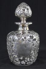 Gorham Sterling Silver Overlay Glass Decanter Bottle & Stopper Circa 1900. Anka