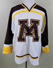 MINNESOTA Gophers~Mens L~Stitched~Maroon & Gold on White~V-Neck~Hockey Jersey