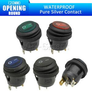 1/5/10PCS Waterproof Round Rocker Switch 2/3 PIN Boatlike Terminals Toggle  20MM