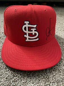 MARK MCGWIRE SIGNED NEW ERA FITTED HAT SIZE 6 7/8 CARDINALS AUTO AUTOGRAPH BAS