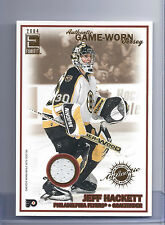 03-04 Pacific Exhibit Hockey Jeff Hackett Flyers Jersey Card Over-sized #147/750