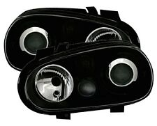 PHARES FEUX AVANT GLACE LISSE NOIR LOOK R32 VW VOLKSWAGEN GOLF 4 1.4 1.6 1.8