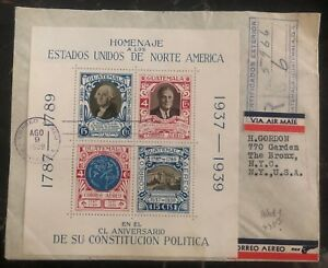 1938 Guatemala Souvenir First Day Cover FDC To Bronx NY USA Constitution homage