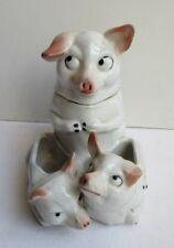 Service à condiments Art Déco, salière, moutardier porcelaine:  Famille cochon