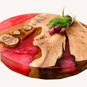 Red Resin Epoxy Acacia Wooden Handmade Customize Table Top Handmade Living Decor