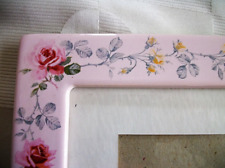 """picture frame CERAMIC PORCELAIN  PINK w RED ROSES 12"""" x10"""" Shabby Chic"""