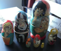 "Rare Wood Russian Disney Hunchback of Notre Dame 7 Pc Nesting Dolls 7 3/4"" Tall"