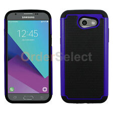 NEW Hybrid Rubber Hard Case for Android Phone Samsung Galaxy J3 Emerge Blue HOT!