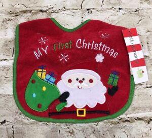 "Little Wonders Christmas Holiday Baby Bib Red Santa ""My First Christmas"""