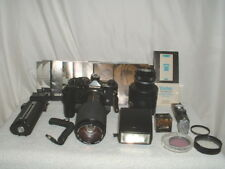 Olympus OM-2 35mm SLR Camera w/2 Lens Winder 2 Flash T32 Filters & More