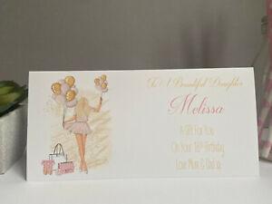 Personalised Birthday Card Money Gift Wallet Voucher Daughter Granddaughter