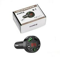 Kit manos libres Bluetooth Care 6 Transmisor FM Reproductor Cargador USB Coche