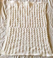 Handmade Cable Knit Crocheted White Baby Christening Baptism blanket