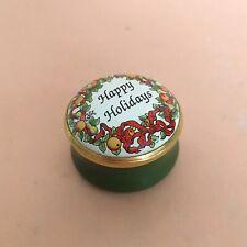 Halcyon Days Enamel Box Happy Holidays Wreath In Original Box