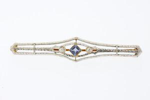 Antique 14k Rose & White Gold Diamond & Ceylon Blue Sapphire Bar Pin