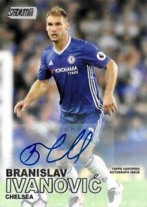 2016-17 Topps Stadium Club Branislav Ivanovic Chelsea Rare Signed Auto Card #56
