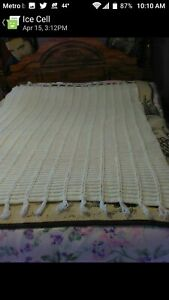 "VTG Handmade Crocheted Afghan Blanket with Handmade Tag 46"" X 64"" Cream--Wedding"