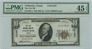 1929 $10 Ty. 1 Banknote The City NB Cleburne, TX PMG Choice XF 45 EPQ Ch #13107
