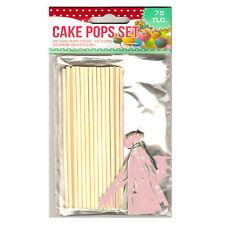 75tlg. Set mit Popcake Cakepop Sticks Stiele Schleifen und Tütchen Tüten