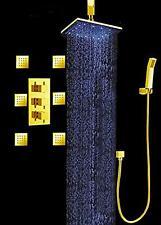 "Luxury Bathroom Shower Set 12"" LED Shower Head (Ceiling Mount) 6 Massage Spray"