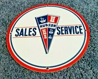 VINTAGE HUDSON AUTO MOTORS PORCELAIN GAS SALES SERVICE DEALERSHIP GARAGE SIGN