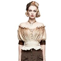 Punk Rave Womens Gypsy Top White Brown Gothic Steampunk VTG Boho Victorian