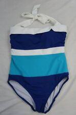 Ralph Lauren One Piece Swimsuit Sz 12 Cobalt Blue White Halter Swimwear LR44C10