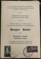 1952 Capetown South Africa Invitation Cover 14th Anual Philatelic Congress Banqu