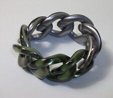 PONO Joan Goodman Silver & Green Metallic Ombre Resin Link Bracelet NWOT $210