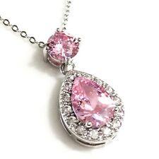 "Gorgeous Pink Sapphire Pear Topaz Halo Pendant Chain Necklace 18"" Dangle WRE27"