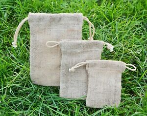 5/10 Rustic Jute Hessian Drawstring Sack Pouch Christmas/Gift/Party Favour Bag