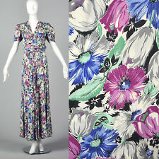 S 1940s Short Sleeve Maxi Dress Oversized Floral Print Rayon Day Wear 40s VTG