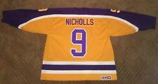 Bernie Nicholls #9 LA Kings Replica Vintage CCM 1980s Gold Jersey NHL Size XL