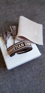 Dior Fabric textile  friendship Bracelet (Grey, Blue & cream )