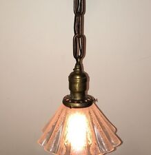 "17"" Long Vintage Antique Pendant Light With Beautiful Pleated Etched Shade"