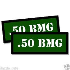 .50 BMG Ammo Can Stickers 2x Ammunition Gun Case Labels  GREEN Decals 2 pack