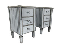 Pair Venetian Mirrored 3 Drawer Bedside Cabinet Chest Furniture Glass Nightstand