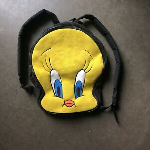 Vintage 90's. Looney Tunes Tweety Bird Big Face Two Strap Small Backpack Bag VTG