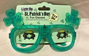Irish Shamrock Flashing Light Up Glasses St Patricks Day